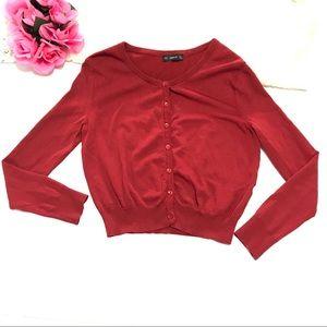 Zara Wo's Deep Red Knit Cardigan Size M